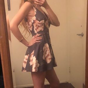 Grey and Pink Floral V-neck dress/romper - Medium